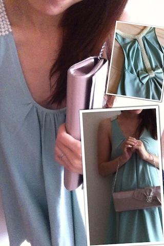 Aライン水色のドレスワンピースコーディネート