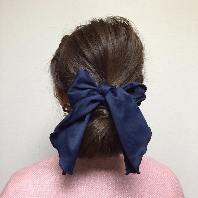シフォンリボンヘアゴム_サイド三つ編みくるりんヘア